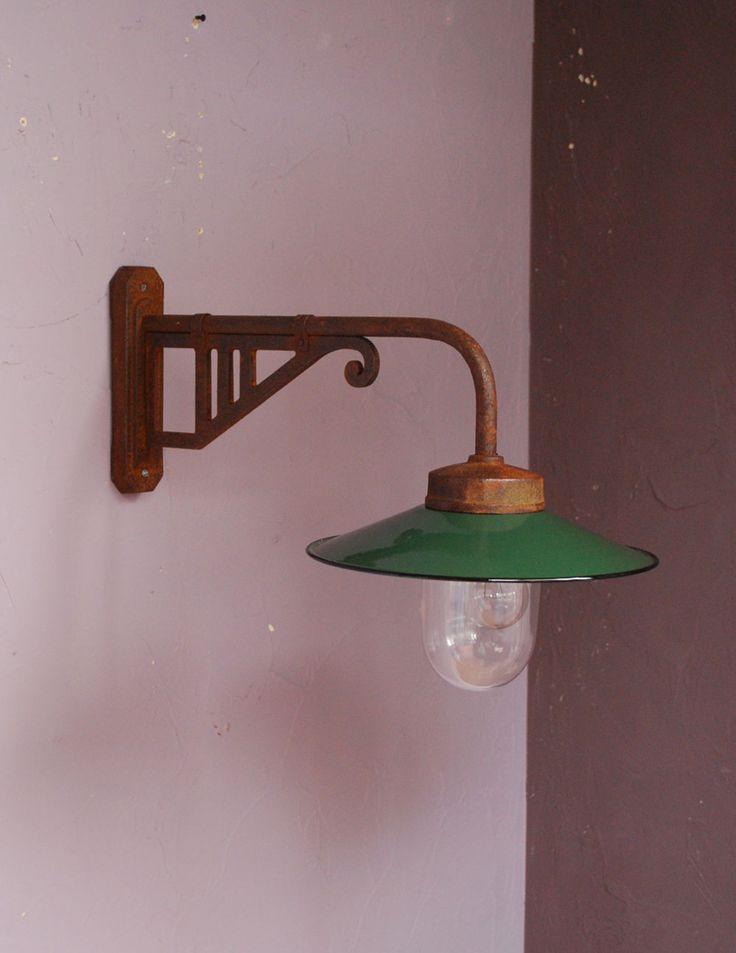 フランスのアイアン製アンティーク照明、グリーンのポーチライト(外灯)デッキランプ (x-594-z)