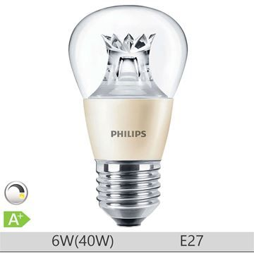 Bec LED Philips 6W E27, forma clasica P48, lumina calda