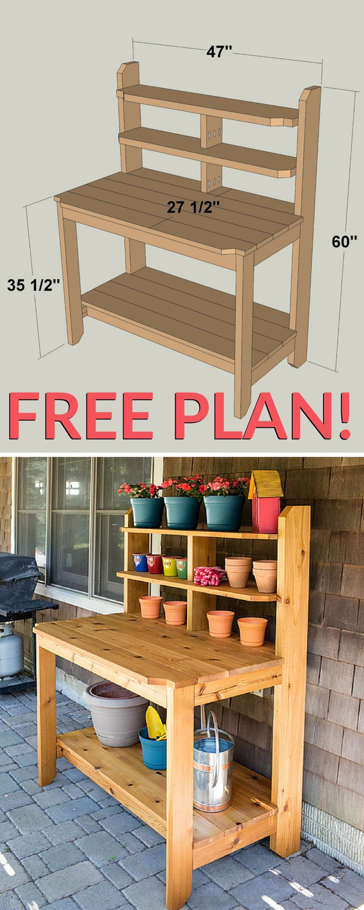 Create a great place for potting plants and gardening chores by building this tough, good-looking potting bench. This one is built from cedar to hold up to years of use outdoors. It looks so good that you might decide to use it as a serving station on your deck or patio, too. Get the free DIY plans at buildsomething.com #garden_table_plans