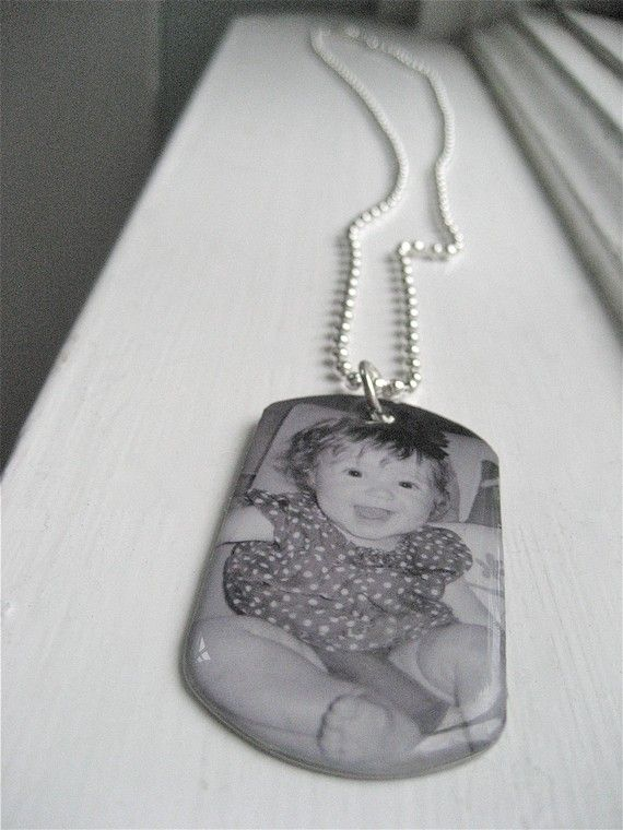 $27 Dog Tag Custom Photo Jewelry Dogtag I.D. Military Inspired Memorial Close to My Heart Series Keepsake Gift for Dad Father's Day Gift for Him. $27.50, via Etsy.