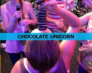 Chocolate Unicorn - put as many choc biscuits on your forehead