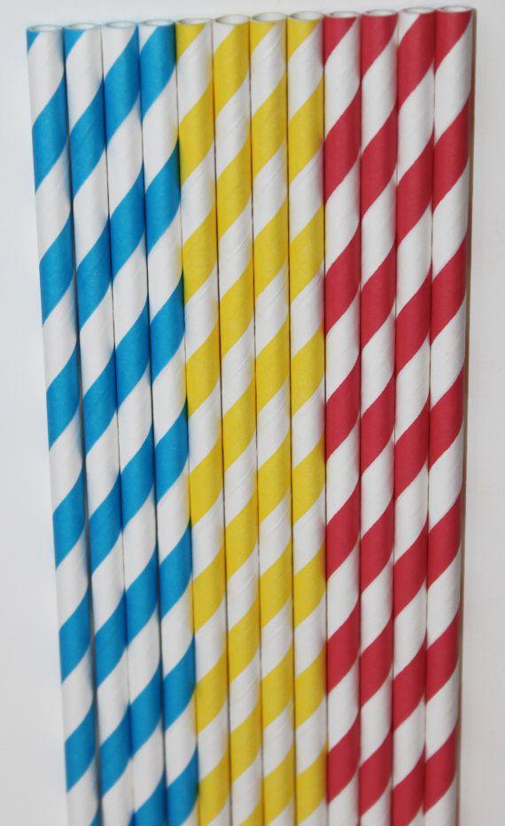 50 Dr. Seuss Inspired yellow red aqua Blue Stripe straws paper straws birthday party wedding cake pop sticks Bonus diy straw flags