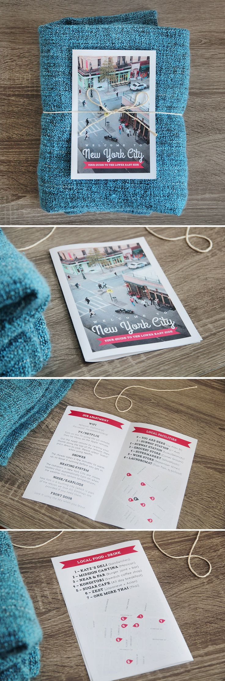 AirBnB Host Welcome Booklet including local map and recommendations - print it at home for your AirBnB guests! / Polkadot Stationery