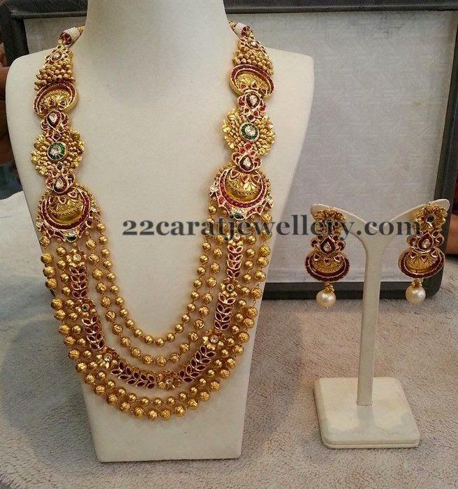 Jewellery Designs: Gold Beads Fancy Long Chain