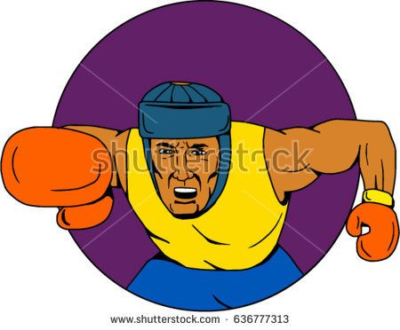 Drawing sketch style illustration of an amateur boxer wearing headgear punching viewed from front set inside circle.   #boxer #sketch #illustration
