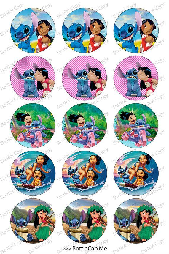 LILO y Stitch 1 pulgada redondo cápsula imágenes 4 x 6 en círculos de 1 pulgada…