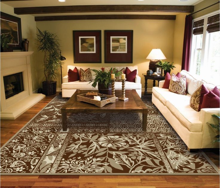 Beautiful Living Room Area Rug With Floral Patterns