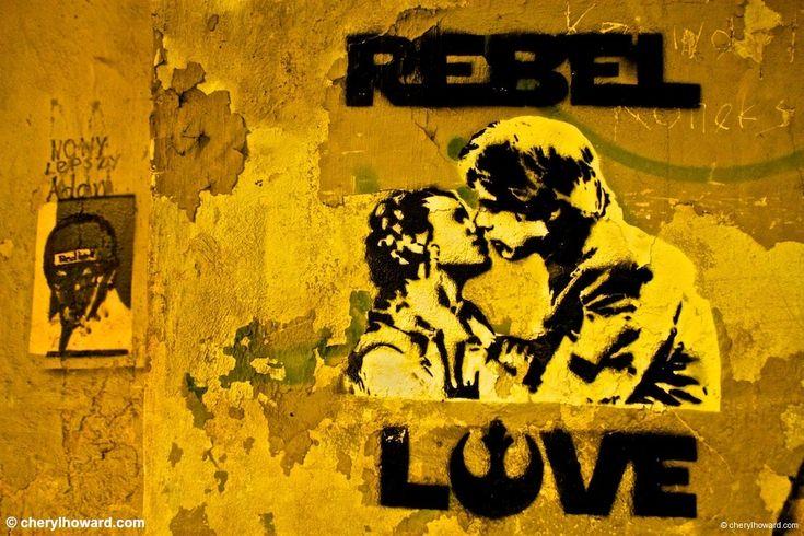 rebel love - graffiti in krakow - love this yellow - #starwars