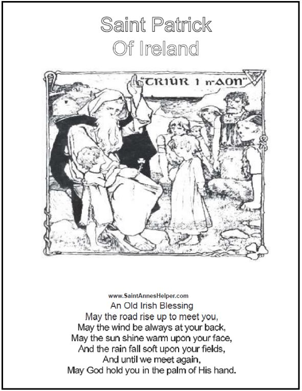COLORING FUN: Two Saint Patrick Coloring Pages With The Irish Blessing and Copy Worksheets.