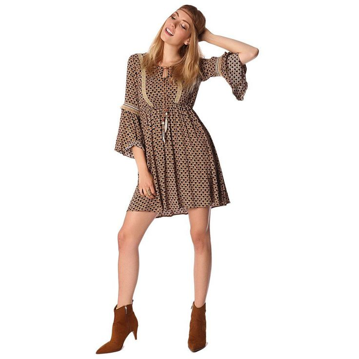 Camel colored midi dress with bohemian print made of a light woven fabric. Round neckline with lace and feathers detail. Lace attachments at the front. Elastic waistband with butterfly sleeves. Perfect for a great festival.
