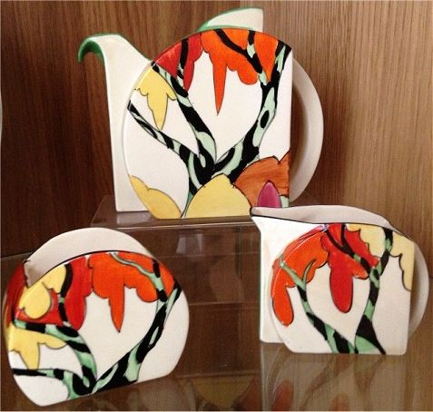 Honolulu, stamford teaset, Honolulu pattern Stamford trio.…, Clarice Cliff pottery in the Online Museum