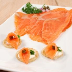 Indulge in this captivatingly intense salmon caught and smoked in Norway, and prepared respecting ancient Norwegian techniques. OU Certified.