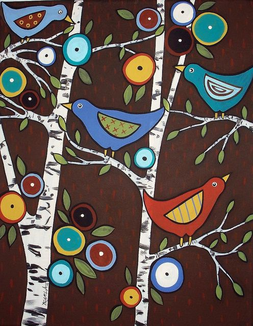 4 Birds In Birches