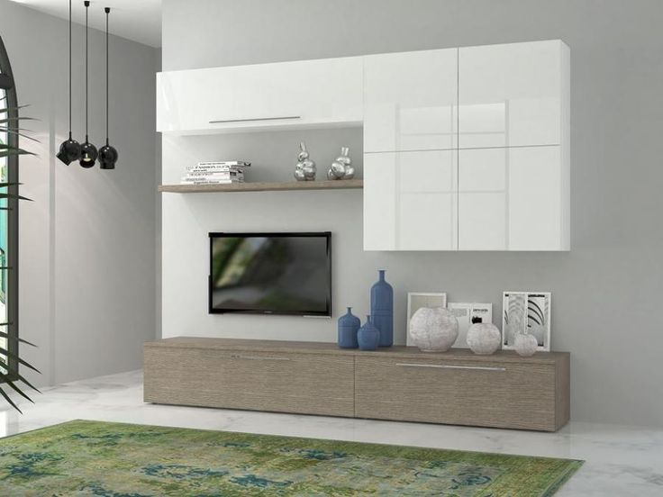 Modern TV media and wall storage unit in white gloss finish/grey larch effect finish