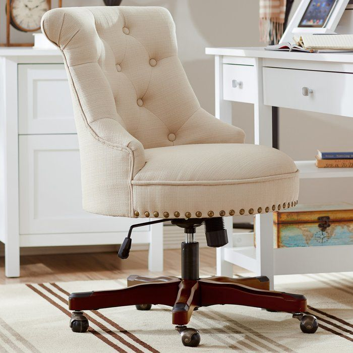 Adorned With Elegant Nailhead Trim And Featuring Glamorous Tufted Upholstery This Chic Rolling Chair Is Farmhouse Office