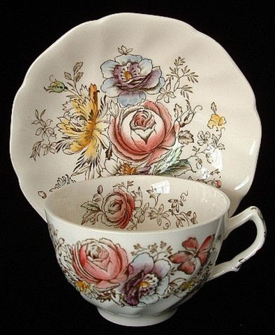 Cup And Saucer Johnson Brothers Sheraton Floral Polychrome 1920s