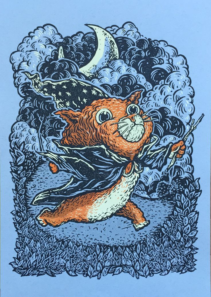Cat Wizard - 13 x 18 - Siliscreen Print by QuarrelsomeYeti on Etsy