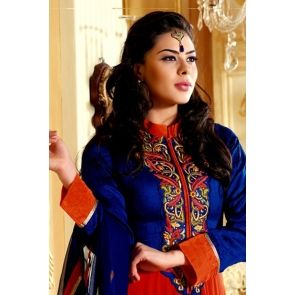 Orange Faux Georgette Salwar kameez