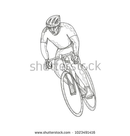 Doodle art illustration of an athlete riding a bike or cycle engaged in road bicycle racing, a cycle sport discipline of road cycling done in mandala style.  #cyclist #mandala #illustration