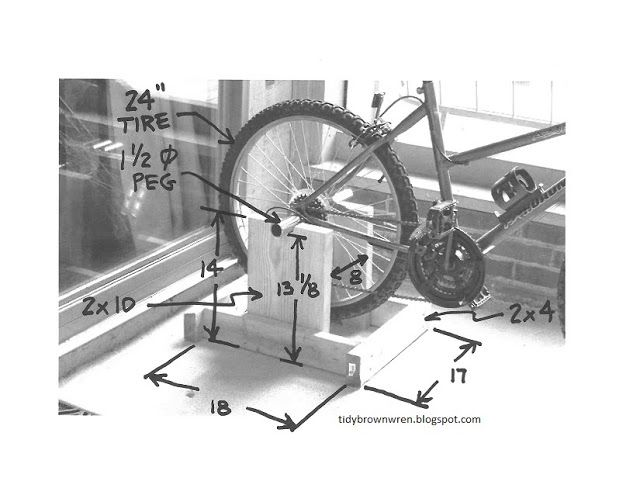 DIY indoor exercise bike from a regular bicycle - from http://tidybrownwren.blogspot.com/2013/01/plans-for-diy-exercise-bike-stand.html