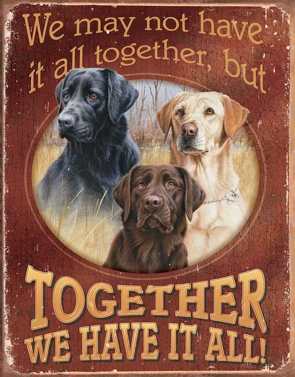"""Together We Have It All Labrador Retriever Dogs Metal Tin Sign 12-1/2"""" x 16"""" Instant decor, so very welcoming, visually appealing and a true reflection of your interest in the outdoors."""