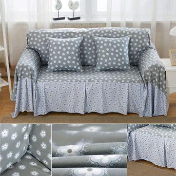 4 Taille Tiny Floral Linen Blend Slipcovers Housse de canapé Pet Protector Dust-proof Easy Clean Table Sofa