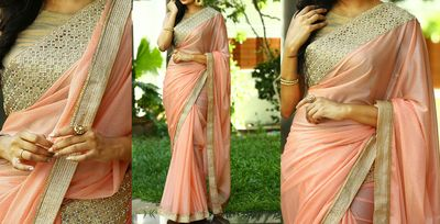 NEW LATEST PEACH COLOR LAYCRA SILK PATTERN GEORGET EMBROIDERY WORK SAREE Sarees on Shimply.com