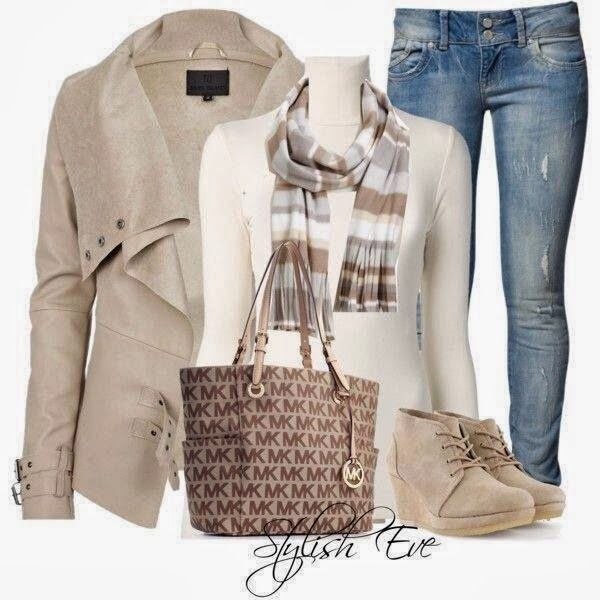 Stylish jacket, scarf, blouse, jeans, handbag and high heel boots for fall