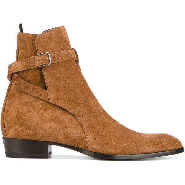Saint Laurent classic Wyatt boots ($1,035) ❤ liked on Polyvore featuring men's fashion, men's shoes, men's boots, brown, yves saint laurent mens shoes, mens brown shoes, mens brown leather boots, mens brown leather shoes and mens leather shoes