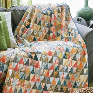 Confetti Forest: Trendy Triangles Throw Quilt Pattern