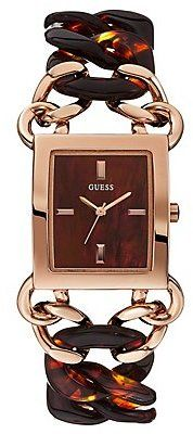 GUESS Brown and Rose Gold-Tone Sophisticated Link Watch on shopstyle.com