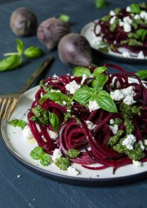 One of our favourite combinations, this recipe pairs spaghetti-style beetroot with creamy goat's cheese and fresh pesto.