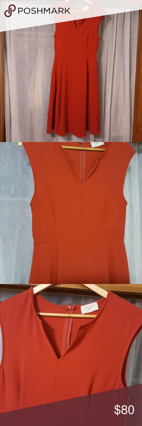 Gorgeous Everly dress Beautiful rust orange color, lined from waist down, 42 length, 17.5 pit to put, slightly stretchy,  excellent condition Everly Dresses