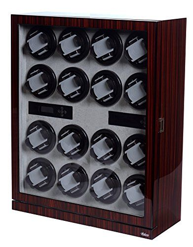 Watch Winder Ebony Wood W/LCD Display For Automatic Watches. (Ebony/Grey W16)  Belocia is a Registered Trade Mark in the USA, operates and service its products in the USA.  LCD control board with five different TPD settings: 650, 900, 1200, 1500, 1800.  Optimal 8 turns per minute motor. Rotates clockwise counter-clockwise, or alternates in between.  High quality glossy finish with 9 Zargler turntables with spring loaded watch holders.  Nine turntables each can be set to different setti...