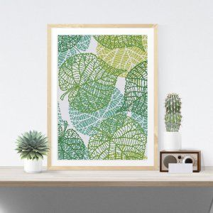 Leaf Vein cross stitch pattern Green Modern Art design for DIY decor gift
