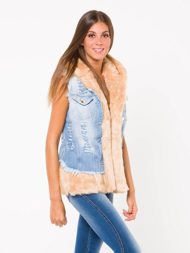 GILET ZAFUR #metjeans #met #jeans #style #fashion #woman #apparel #accessories #fall #winter #collection #shopping #online #black #fur #gilet #denim
