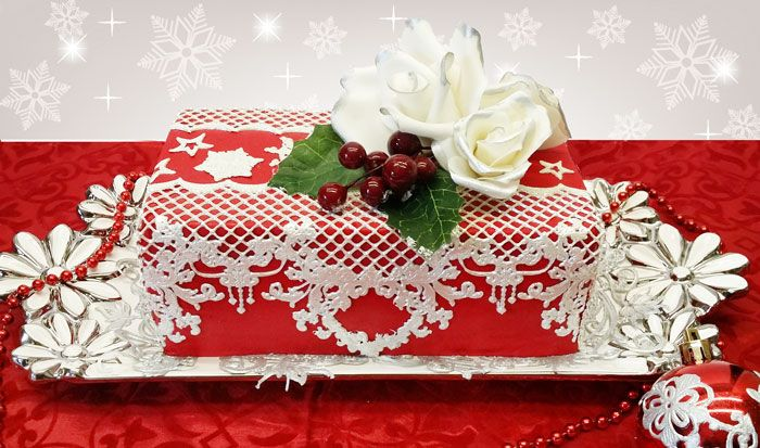 Christmas celebration cake-With edible lace