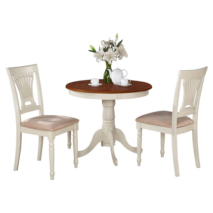 East West Furniture Antique 3 Piece Pedestal Round Dining Table Set with Plainville Microfiber Seat Chairs | from hayneedle.com