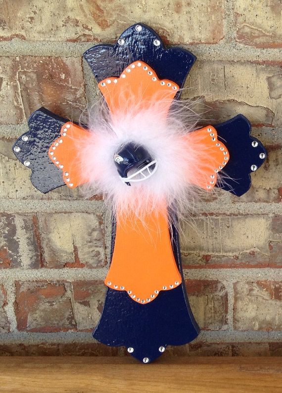 Denver Broncos Football Team Blue and Orange Wooden Cross on Etsy, $28.00