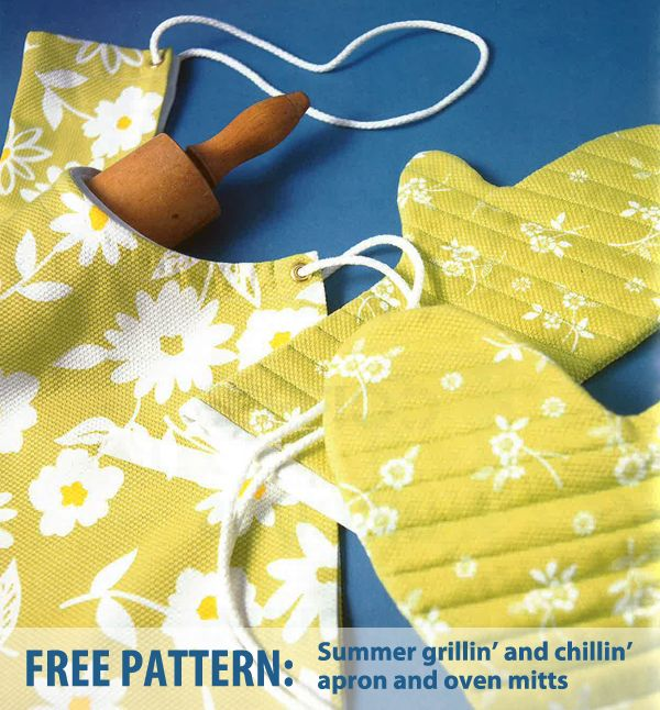 Apron and oven mitts: free patterns!