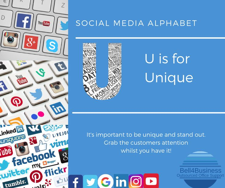 Day 21 of our Social Media Alphabet!    U is for Unique. It's important to be un…