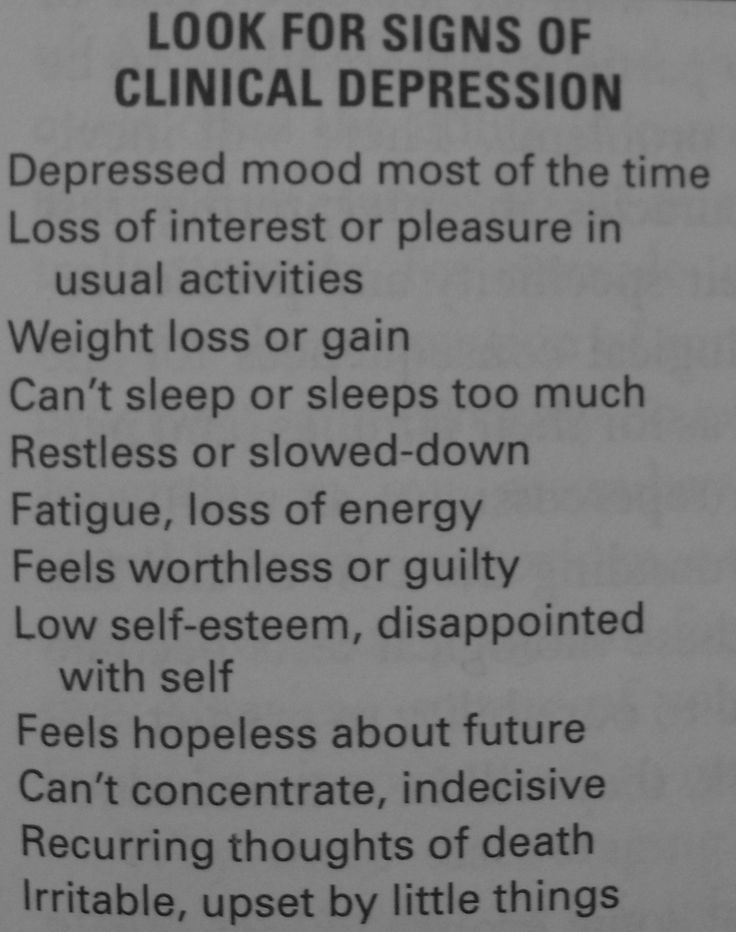Clinical Depression signs