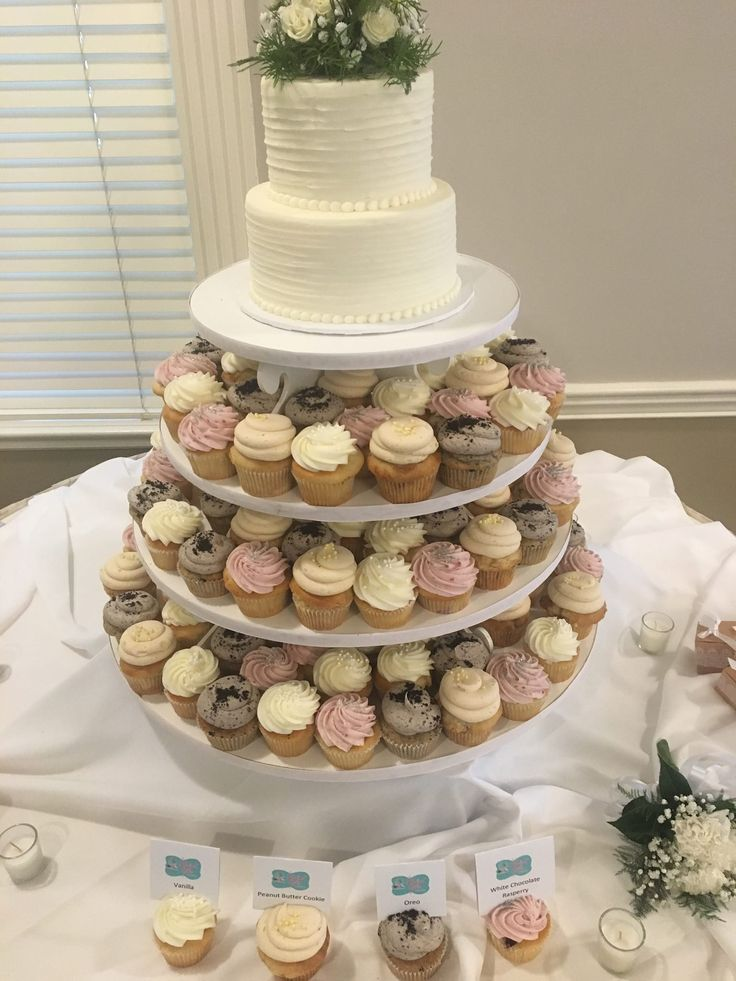 Wedding Cupcake Tower with 2 Tier Rustic Cake 3 Sweet