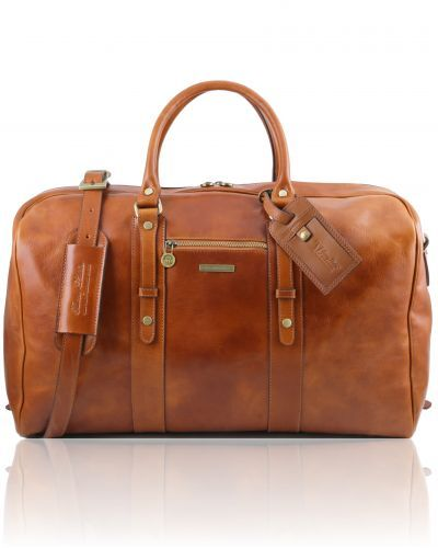 TL VOYAGER TL141401 Leather travel bag with front pocket