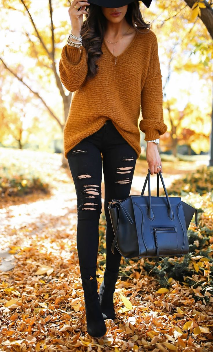 caramel sweater, black distressed skinny jeans, black booties