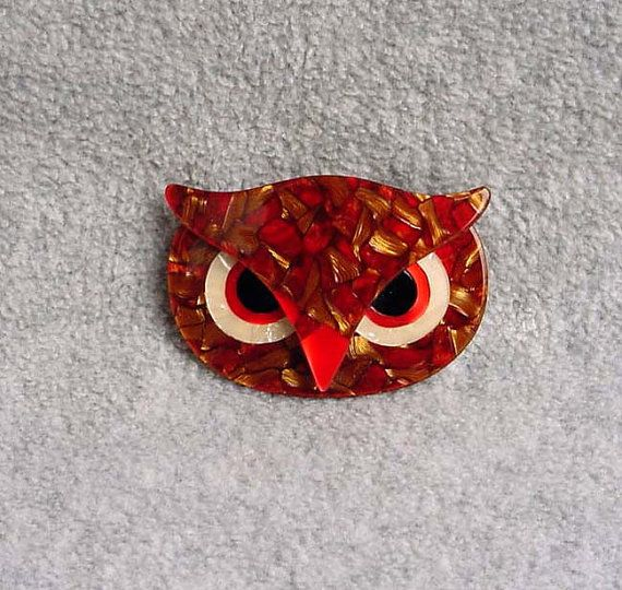Lea Stein Athena Brooch Owl Face Pin French by Kissisjustakiss