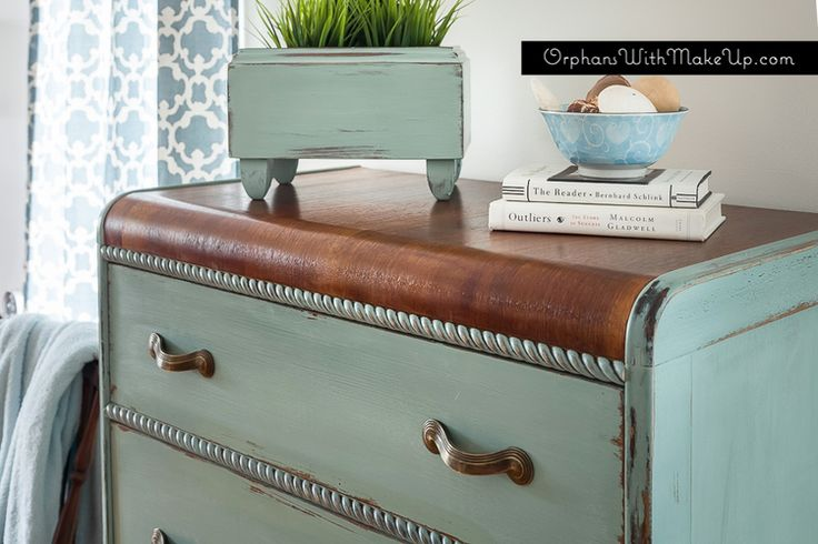 Gorgeous blue painted dresser by {Orphans with Make-UP} #PaintedDresser #BluePaintedFurniture
