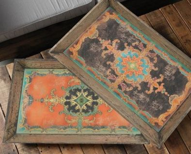 Designer wooden trays now available. Look at the gorgeous patterns!
