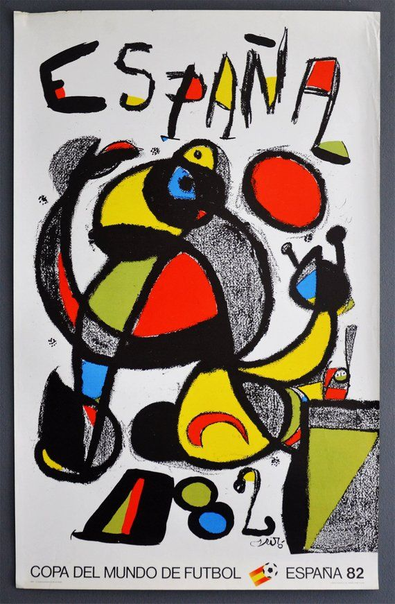 World Cup Poster Joan Miro Spain 1982 Lithographic Print Maeght Gallery Football Soccer Laliga Vintage Afiche 1982 World Cup World Cup Soccer World