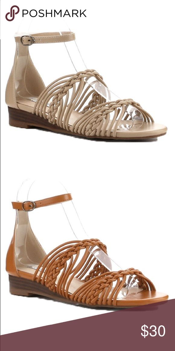 Ladies high top ankle buckle strap flat sandals. Very nice looking ladies high top ankle strap sandals, open toes, unique straps details, man made materials, this listing is for Nude color and the camel color is available in different listing. Brand new in box. True to size. NO TRADES SHOEROOM21 boutique Shoes Flats & Loafers